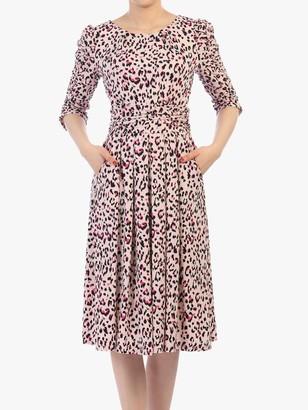 Jolie Moi Leopard Print Half Sleeve Midi Dress