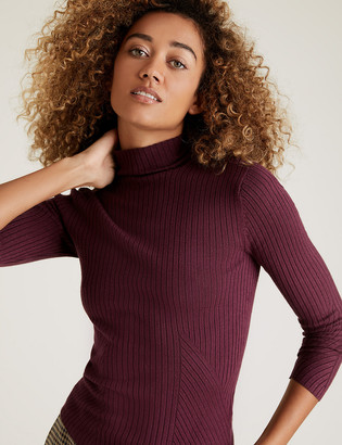 Marks and Spencer Ribbed Funnel Neck Fitted Jumper