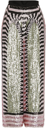 Temperley London Sequined Georgette Wide-leg Pants