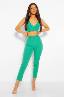 boohoo Tailored Pintuck Seam Skinny Trouser
