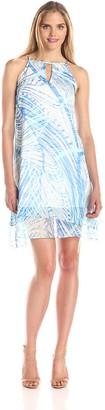 Andrew Marc Women's Leaf Printed Keyhole Dress