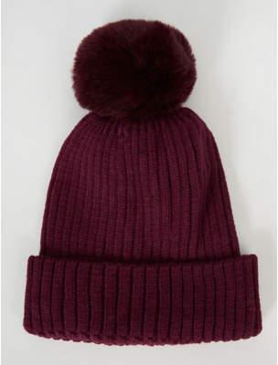 Bobble George Burgundy Faux Fur Pom Pom Hat