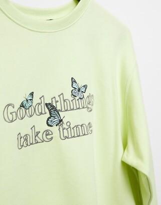 New Look good things slogan sweatshirt in lime green