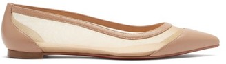 Christian Louboutin Galativi Mesh-panel Leather Ballet Flats - Beige