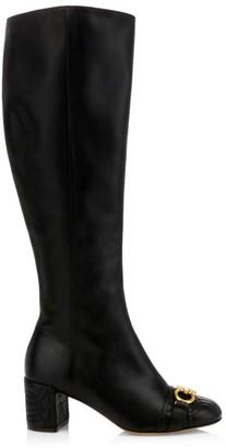 Salvatore Ferragamo Lilla Knee-High Leather Boots