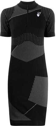 Off-White Stripe-Detail Short-Sleeve Dress
