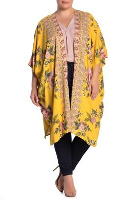 Angie Floral Open Front Kimono (Plus Size)