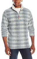 True Grit Men's Melange Blanket Shadow Plaid 1/2 Zip Pullover