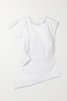 Safiyaa Mirla Belted Asymmetric Ruffled Cotton-poplin Top - Ivory