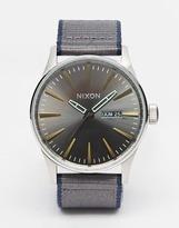 Nixon Sentry Leather Strap Watch - Navy
