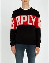 Replay Block-logo wool-blend jumper