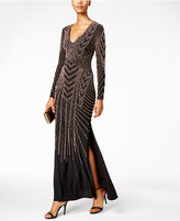 Xscape Evenings Beaded Side-Slit Gown