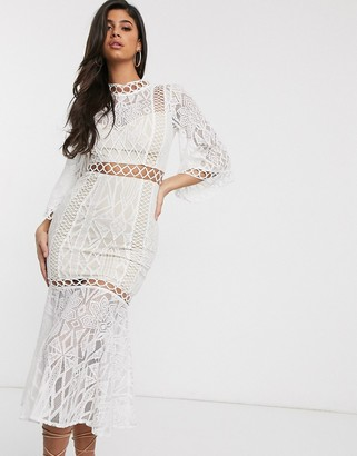 Love Triangle high neck lace midaxi dress with fishtail hem in cream
