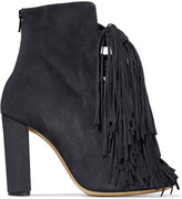 Chloé Tasseled Suede Boots - Charcoal