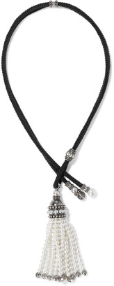 Lanvin Oxidized Silver-tone, Cord, Faux Pearl, Bead And Crystal Tassel Necklace