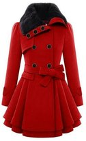 knight horse Women's Fashion Faux Fur Lapel Double-breasted Thick Wool Trench Coat Jacket
