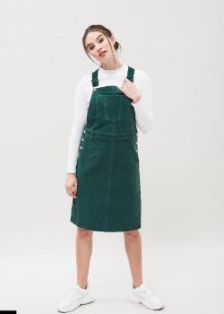 Dr. Denim Deep Green Cord Vida Pinafore Dress - cotton | Size XS | deep green - Deep green