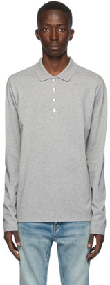 Balmain Grey Long Sleeve Polo