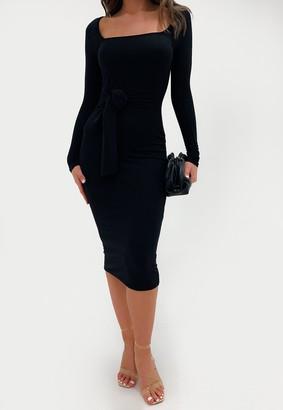Missguided Black Rib Scoop Neck Belted Midi Dress
