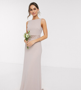 TFNC Bridesmaid exclusive bow back maxi in taupe