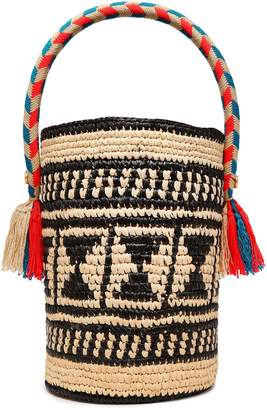 Yosuzi Chika Tasseled Woven Straw Bucket Bag