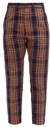 Vivienne Westwood George High-rise Waved-tartan Cotton Trousers - Womens - Navy