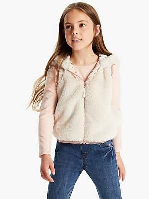John Lewis & Partners Girls' Sporty Faux Fur Gilet, Cream