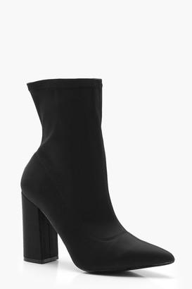 boohoo Extra Wide Width Block Heel Sock Boots