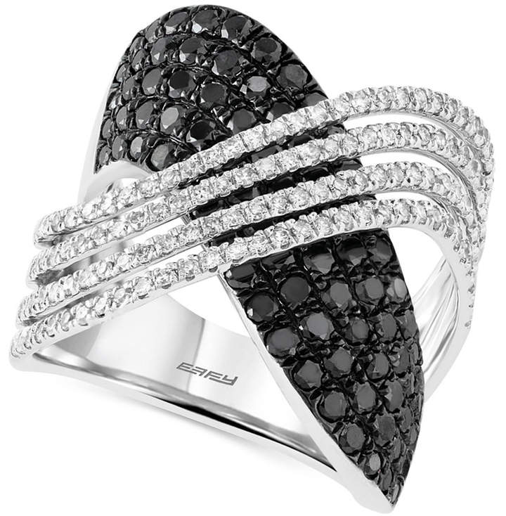 Effy Caviar By Black and White Diamond (2 ct. t.w.) Crossover Ring in 14k White Gold