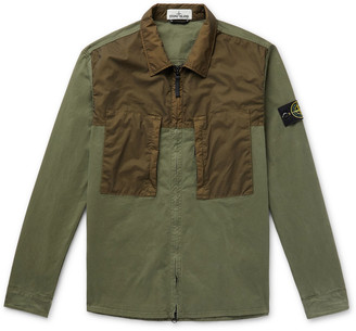 Stone Island Logo-Appliqued Garment-Dyed Shell-Panelled Cotton-Twill Overshirt