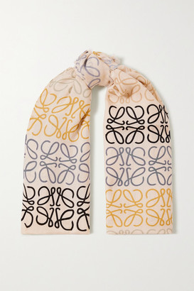Loewe Fringed Printed Wool, Silk And Cashmere-blend Scarf - White
