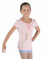 Bloch White Ballerina Button-Front Tee - Girls