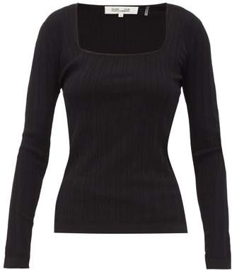 Diane von Furstenberg Fera Scoop-neck Pointelle Sweater - Womens - Black
