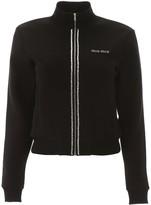 Miu Miu Zipped Sweatshirt With Crystals