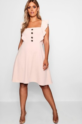 boohoo Plus Horn Button Detail Ruffle Skater Dress