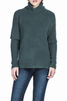 Lilla P Rib Sleeve Turtleneck Sweater