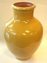 Moroccan Handpainted Glazed Terracotta Vase Jars Pottery in Assorted Colors (YELLOW)
