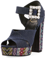 Roger Vivier Anjelica Crystal Denim 130mm Sandal, Blue