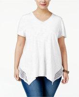 Style&Co. Style & Co Plus Size Crochet-Trim Handkerchief Hem Top, Created for Macy's
