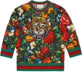 Gucci Floral print with tiger sweatshirt - women - Cotton - XS
