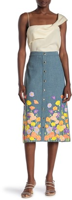 Alice + Olivia Townes Floral Embroidered Snap Button Midi Skirt