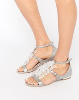 Carvela Kelly Silver Large Drop Gem Flat Sandals