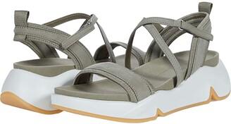 Ecco Chunky Strap Sandal (Vetiver/Vetiver Cow Nubuck/Textile) Women's Shoes