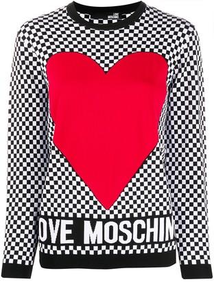 Love Moschino check-print crew-neck jumper