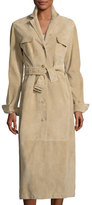 The Row Zoe Perforated Suede Trenchcoat, Sand