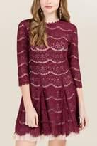 Trixxi Glenda Hi Neck Lace A-line Dress - Wine