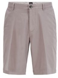 HUGO BOSS Slim Fit Shorts In Stretch Cotton With French Pocket - Dark Blue