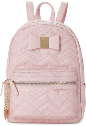 Betsey Johnson Blush Bow Quilted Backpack