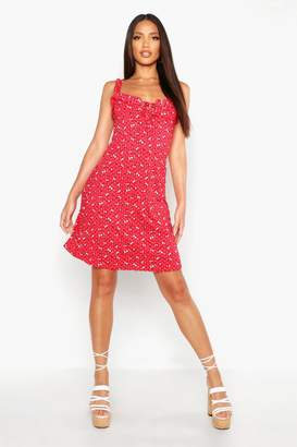 boohoo Tall Ditsy Floral Lace Up Skater Dress