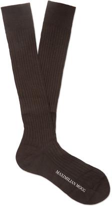 Maximilian Mogg - Ribbed Fil d'Ecosse Cotton-Blend Socks - Men - Brown